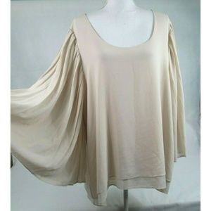 Rose & Olive Women Scoop Neck Accordion Blouse Top